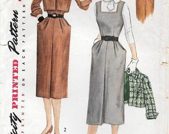 CLOSE OUT/ Simplicity 3663 1950s Jumper or Dress and Jacket Vintage Sewing Pattern Size 14 Bust 32 Wiggle Dress