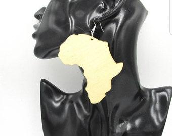Wooden African shape earrings