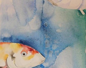 4 x 6 watercolor painting greeting card  (Pack of 5) Koi Fish