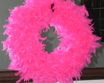 Hot Pink Feather Wreath 25'' - Great for Birthday Anniversary Bachlorette