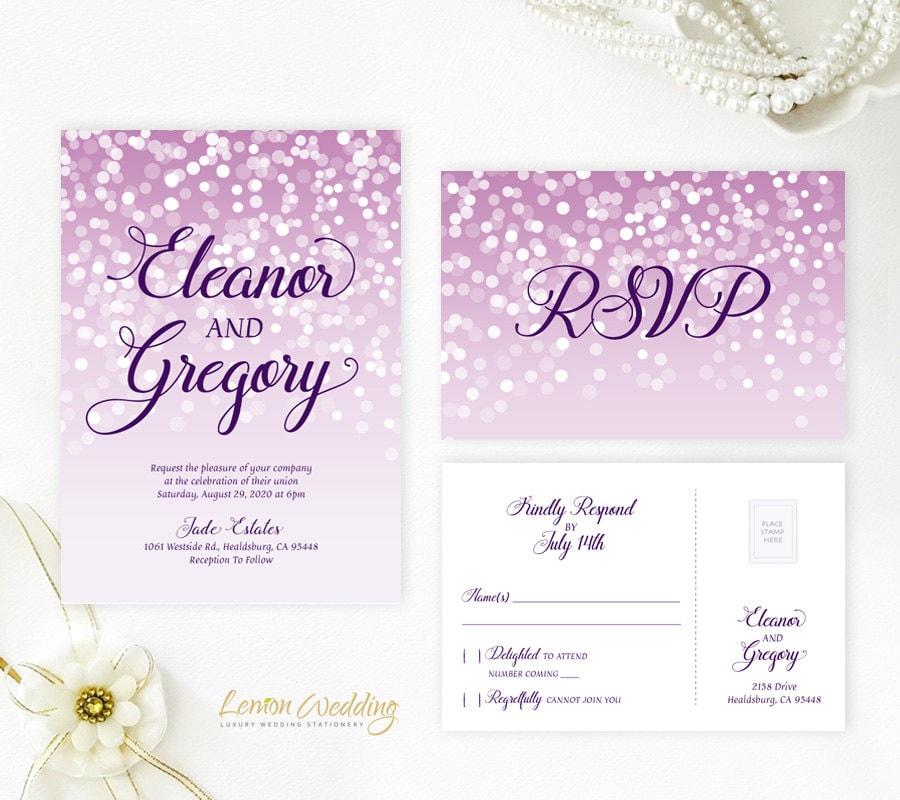 Cheap Printed Wedding Invitations: Purple Wedding Invitations With RSVP Cards Printed Wedding