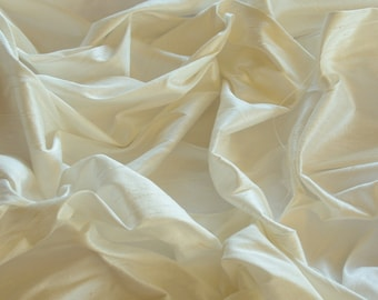 "Ivory Dupioni Silk, 100% Silk Fabric, 44"" Wide or 54"" Wide, By The Yard (S-102)"