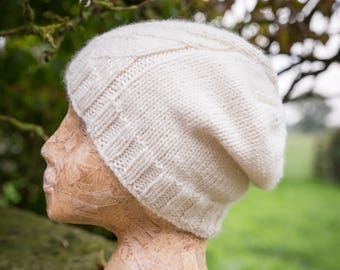 Womens Hand Knit Luxury Merino Wool Hat - Cream - READY TO SHIP
