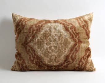 Oil green brown ivory Luxury Silk velvet ikat pillow cover velvet pillows Handwoven hand-dyed
