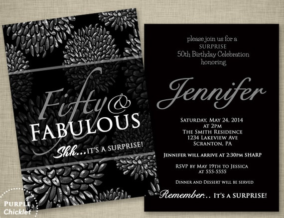 50th Birthday Surprise Party Invitation Silver Flower Bursts