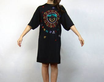Tshirt Dress Black 90s Clothing Oversized Tee Shirt Vintage 1990s Sun Embroidered Dress - Medium to Large M L