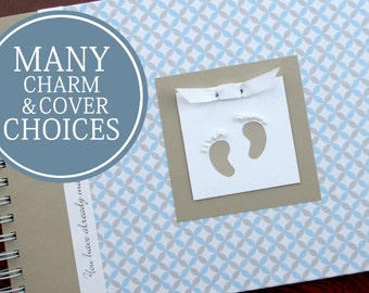 Baby Record Book | Baby Journal | Memory Book Baby | Boy | Girl | Gender Neutral | Personalized Record Book | Charmbooks Blue & Gray Circles