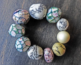 Pale bead set by fancifuldevices- 10 rustic handmade art beads