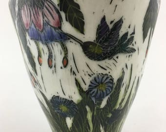 Small Butterfly and Hummingbird Sgraffito Vase
