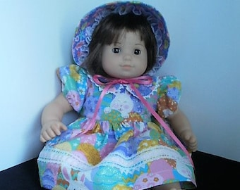 Bitty Baby Size Doll Dress with Bloomers and Hat, 15 inch Baby doll Easter Bonnet  with Dress