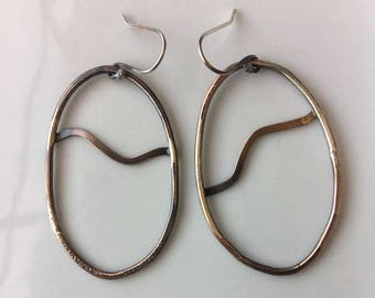 Copper Wire Earrings with Asymmetrical Design