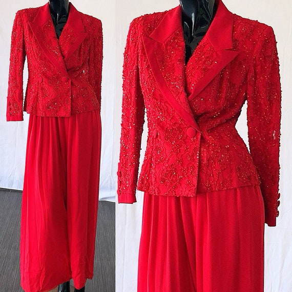 Tuxedo Suit Sequin Pant Evening Suit Silk Blass Party Suit Lace Bill Palazzo wSnAq0UwY