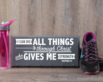 Running medal holder  - Philippians 4:13 I can do all things through Christ - great gift ideas for runners