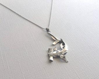 Hammerhead Shark Necklace in Sterling Silver, Fish Jewelry, Hammerhead Shark Jewelry