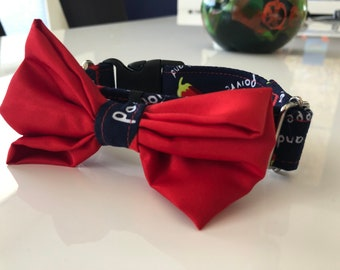 Pet collar with bow tie size S