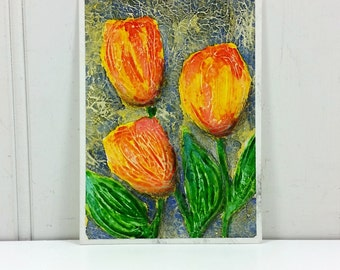 Orange Tulips Watercolor Painting Spring Garden Flowers Original Miniature Art