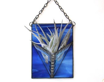 Air plant holder Monaco blue sapphire stained glass wall vase modern home decor indoor garden