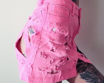 distressed pink GISM skirt. Women's size small