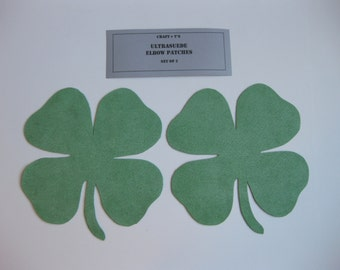 Shamrock Elbow Patches - Green Ultrasuede - Set of 2
