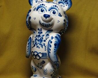 Gzhel porcelain Olympic Bear 27cm Moscow 1980