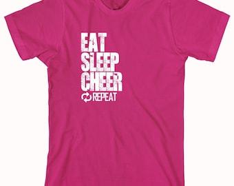 Eat Sleep Cheer Repeat Shirt - Cheerleader Pride, Spirit, High School Cheerleading, College Cheerleading - ID: 845