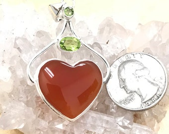 Carnelian Heart with Peridot Accent Pendant Necklace