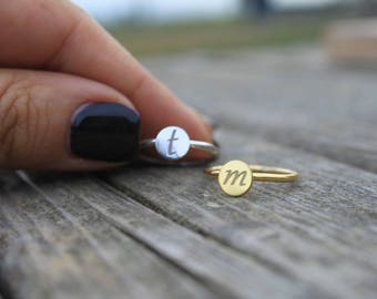 Gold Initial Ring, Stackable Initial Rings, Initial Rings Sterling Silver, Personalized Stackable Rings, Custom Gold Ring, Initial Rings