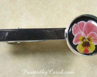 Pansy Tie Bar, Pansy Tie Tack, Pansy Tie Clip, Pansy Accessories, Pansy Mens Gifts, Pansy Bridal, Pansy Wedding, Pansy Gifts
