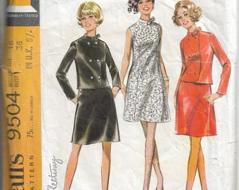 Dress & jacket sewing pattern - sewing pattern for suit - suit pattern - vintage sewing pattern - Size 16 Bust 38 - 1960s suit pattern