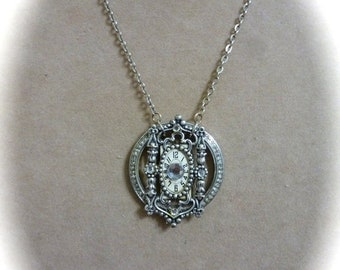 60% OFF SALE Filagree Pendant Necklace, Victorian Art Deco Style Rhinestone