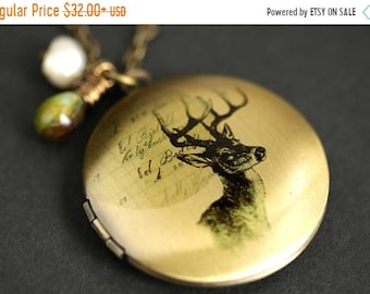MOTHERS DAY SALE Wildlife Necklace. Woodland Deer Locket Necklace with Green Marbled Teardrop and Fresh Water Pearl Charm. Bronze Necklace.