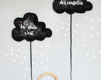 """Duo of balloons clouds """"rain, it's like confetti"""" and its confetti stickers."""