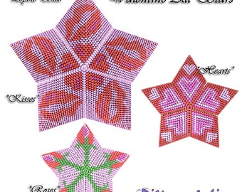Beading Pattern/Tutorial VALENTINE All Stars 3D PEYOTE STAR + Basic Instructions