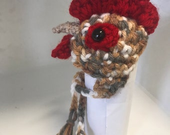 Rooster Hat for a chicken or doll. PLEASE check measurements in photos. 2
