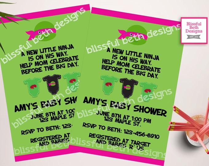 TMNT Girl Baby Shower, Ninja Girl Baby Shower Invitation, Ninja Shower Invitation, Ninja Invite, Baby Ninja Turtle, TMNT, Ninja Turtle Baby