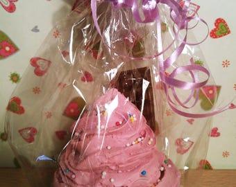 Handmade soap cupcake with chocolate