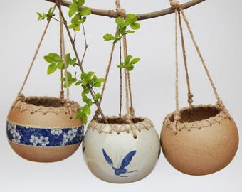 Set of 3 - Simple Hanging Ceramic Planters, Hanging Terrarium,Air Plant Vase,Ceramic Planter,Home Decor,Office Decor, Gift Idea,Garden Tools