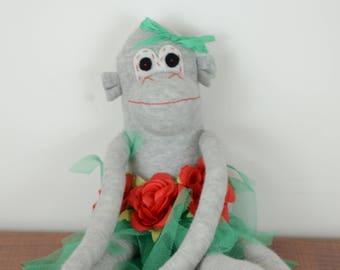 Green Hula Sock Monkey, Sock monkey doll, stuffed animal, kids toy,