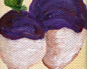 Turnips mini painting on canvas original, kitchen decor, culinary wall art, illustration, original acrylics painting of turnips, turnips art
