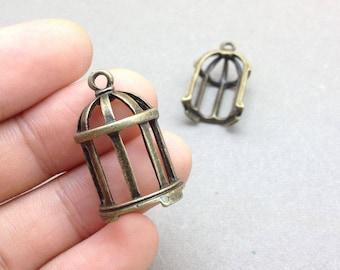 10pcs Antique Bronze Birdcage  Charm Pendants 25x30mm