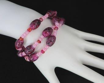 Purple Beaded Bracelet, Vintage Multistrand Boho Bracelet, Gypsy Jewelry, Gift for Her