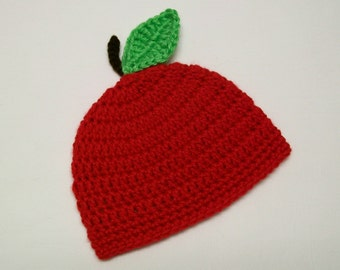 Crochet Red Apple Hat Apple Baby Hat Beanie Crocheted Fruit Apple hat with Leaf Stem Photo Prop Hat Baby shower Gift