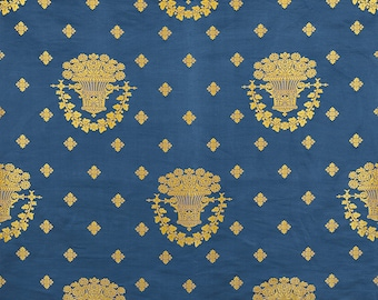DESIGNER WHITE HOUSE Historical Neoclassical Lampas Damask Silk Fabric 5 Yards Blue