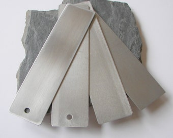 """Aluminum (10) 1.75"""" x 7"""" bookmark blanks, choose your finish,  Aluminum Stamping Blank, Aluminum Tag, Aluminum Name Tag, For Hand Stamping"""