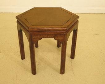 F44905EC: ETHAN ALLEN Maple Hexagon Occasional Table
