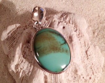 Silver turquoise pendant, set in 92.5 sterling silver