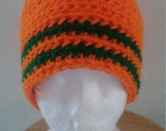 Green striped orange hat