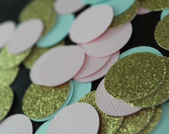 Pink mint gold confetti 60 pcs | Birthday party or bridal or baby shower decorations | Gold pink mint decorations