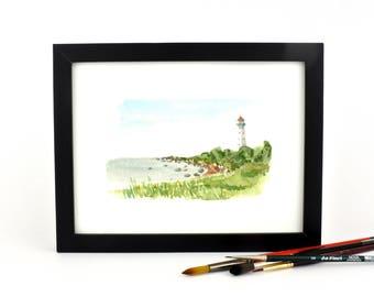 Kihnu Lighthouse - watercolor giclee print