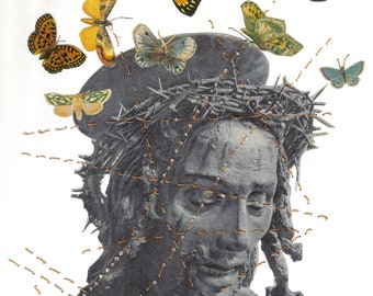 Original Collage Nanette Gilligan Jesus With Butterflies
